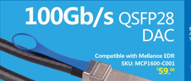 100G QSFP28 (EDR) DAC Cable, 3-Meter