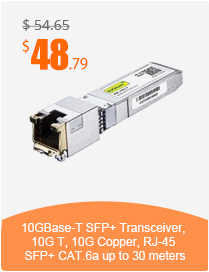10GBase-T SFP+ Transceiver, 10G T, 10G Copper, RJ-45 SFP+ CAT.6a up to 30 meters
