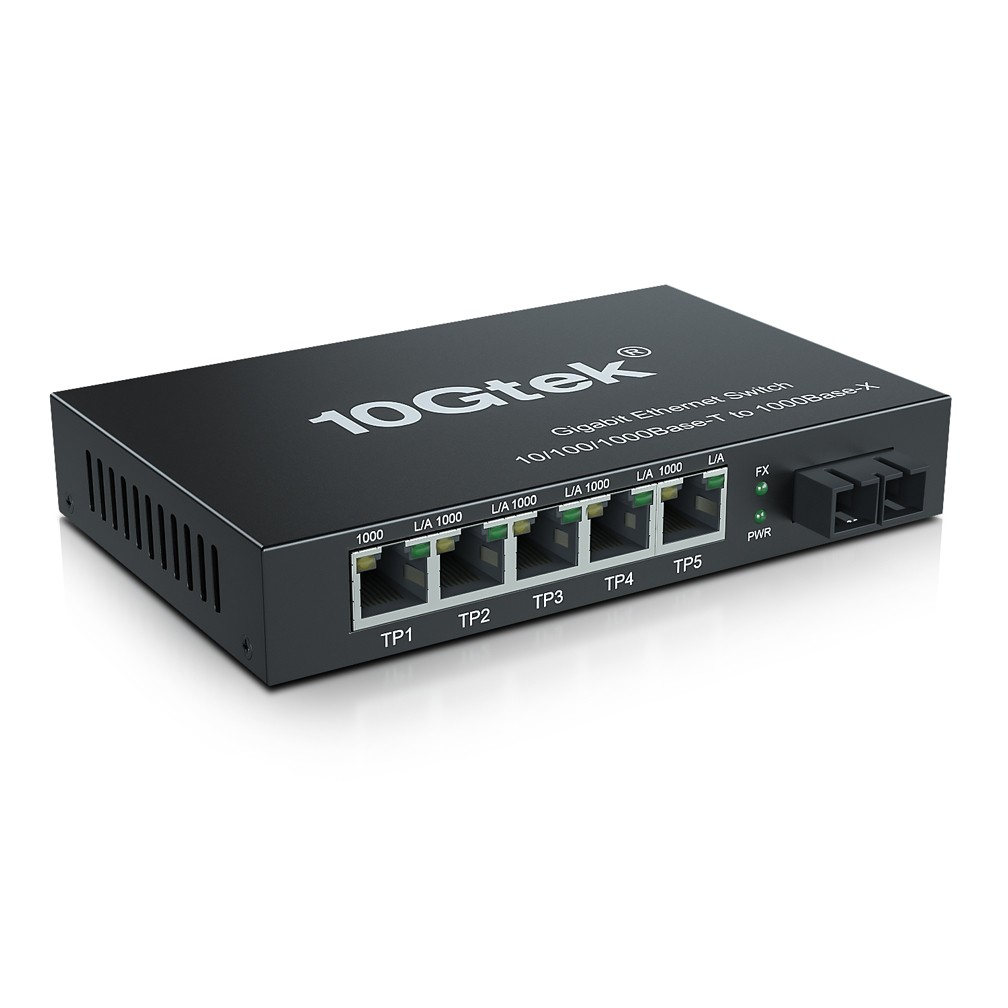 6-Port 1.25G Desktop Fiber Switch, with SC Fiber, 20 km