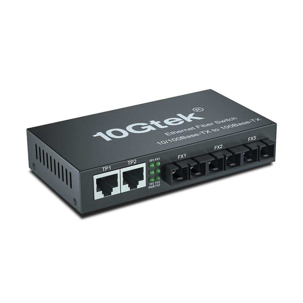 5-Port Fast Ethernet Desktop Fiber Switch, with (3) SC Fiber, 20 km