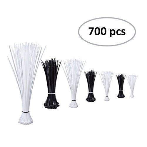 Zip Ties (Combo Pack 700pcs) Self-Locking 4 6 8 14.6-Inch Nylon Cable Ties in Black & White