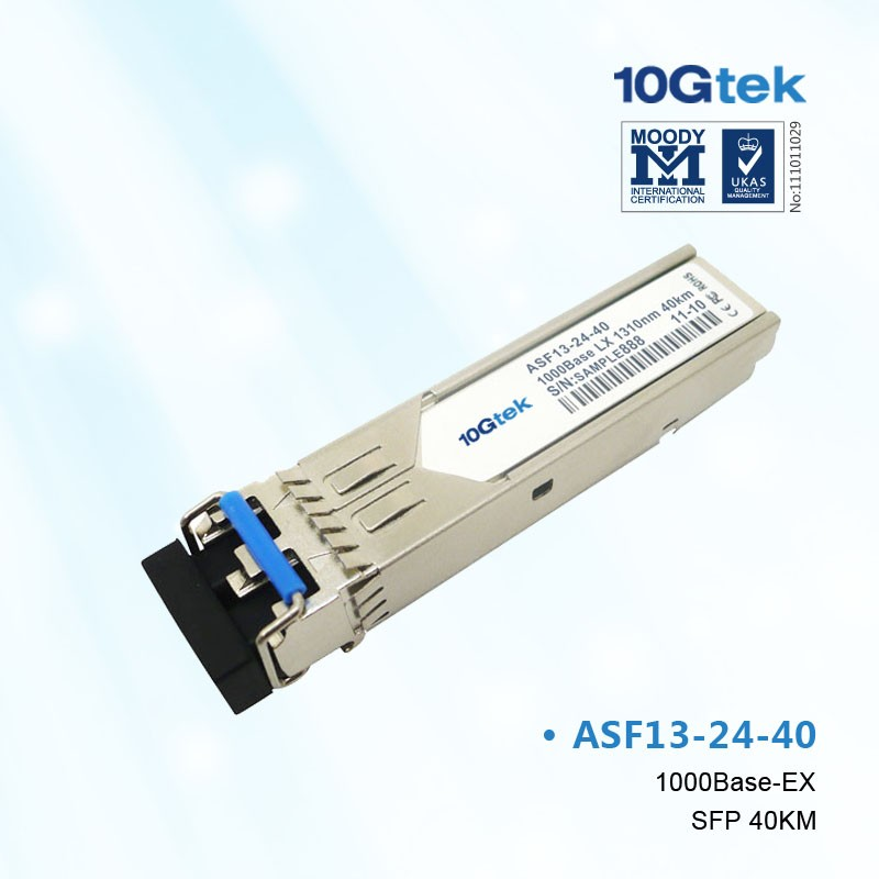 For Cisco, GLC-EX-SMD, 1000BASE-EX SFP transceiver module for SMF, 1310-nm wavelength, extended operating temperature range.