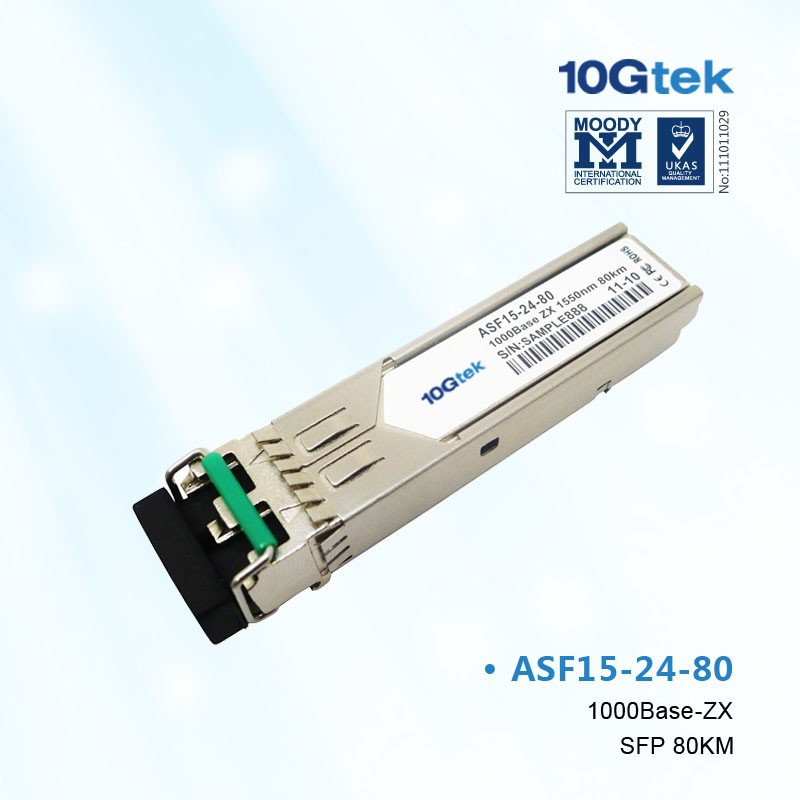 For Cisco, GLC-ZX-SM, 1000BASE-ZX SFP transceiver module for SMF, 1550-nm wavelength, commercial operating temperature range.