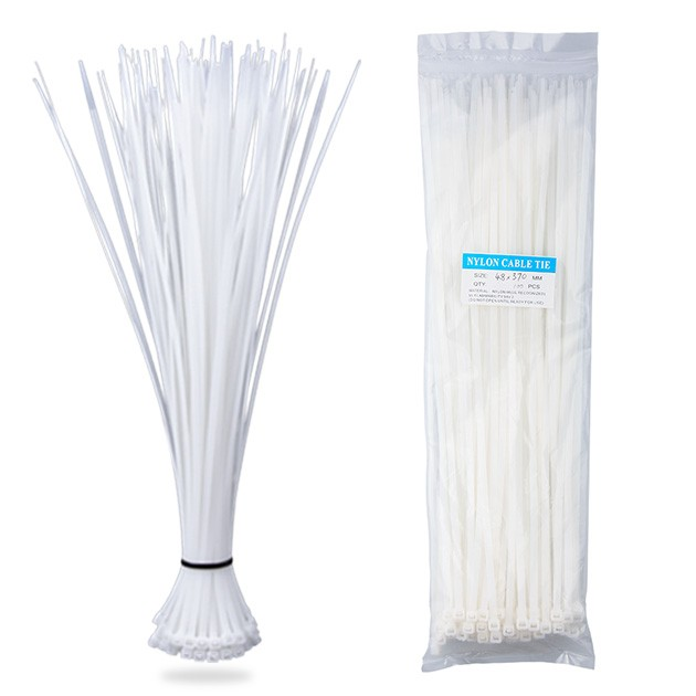 Nylon Zip Ties(100 pcs), 14.6 x 0.18 inch, White, UL Certified