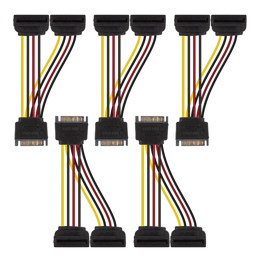 SATA Power Extension Cable, 15Pin SATA Male to Dual Female, Straight to Right Angle, 8inchs, Pack of 5