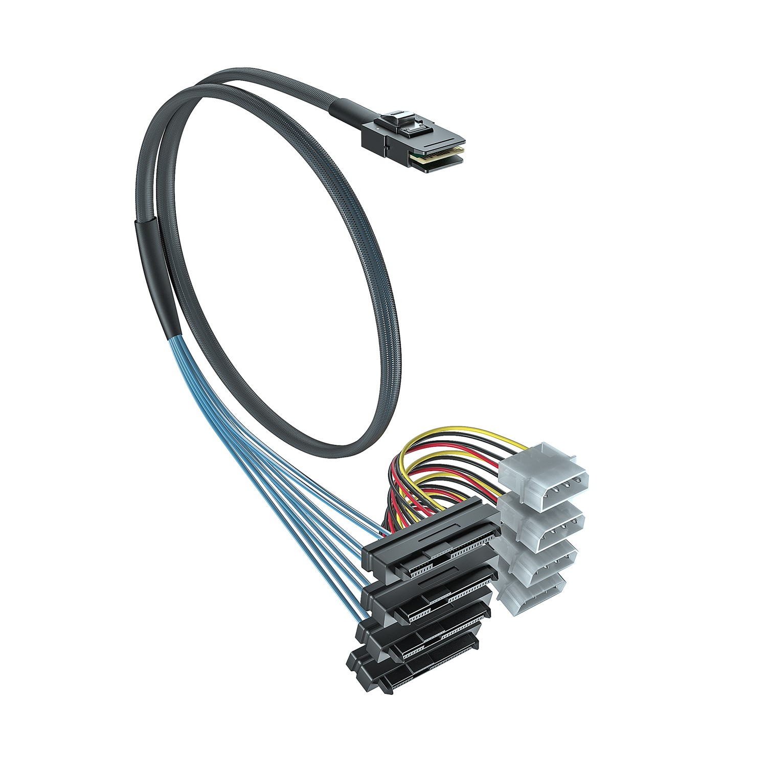 SFF-8087 to (4) SFF-8482 cable, 0.5~1 meter