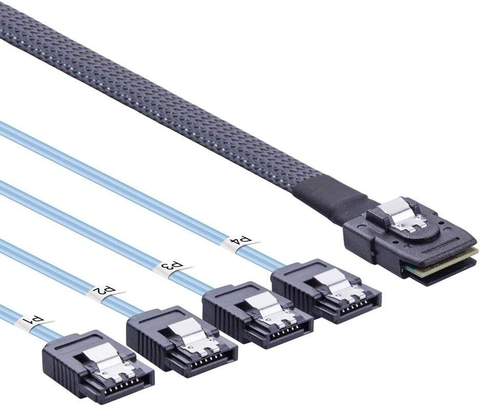 SFF-8087 to (4) SATA cable, 0.5~1 meter