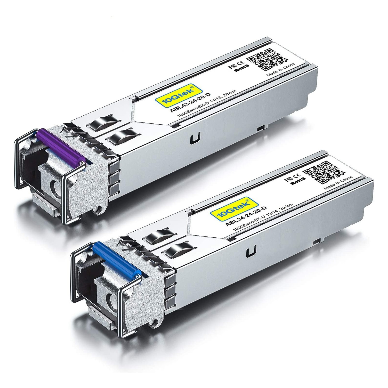 A Pair of 1.25G SFP Bidi Transceiver, 20km Compatible for Alcatel-lucent