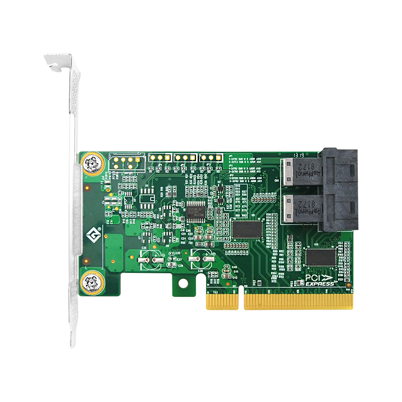 PCIe to NVMe Adapter Card for U.2 SSD (Repeater IC), X8, (2) SFF-8643