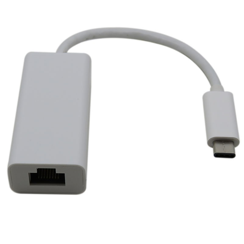 Type-C 3.1 to RJ45 Adapter, High speed Ethernet 10/ 100/ 1000M Gigabit, 23CM, White