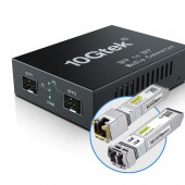 10GbE Media Converter, 10GBase-T reach 30 meters, SFP+ module up to 300 m~10 km