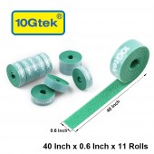 Self-Attaching Reusable Hook & Loop Fastening Tape, Double Side Cable Tie, L 40''(100cm) x W 0.6''(1.45cm), 11 PCS