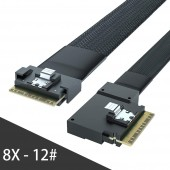 24G Internal SlimSAS SFF-8654 to SFF-8654 8i Cable, Straight to 90 Degree Left Angle 8X 12#, PCIE4.0, 85-ohm, 0.5-1 meter