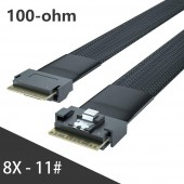 24G Internal SlimSAS SFF-8654 to SFF-8654 8i Cable, SAS 4.0, 100-ohm, 0.5~1 meter
