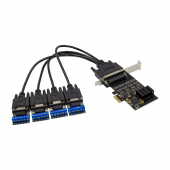 PCIe X1 to RS-485 Serial Card, with Cable [44 pin breakout to (4) DB9]