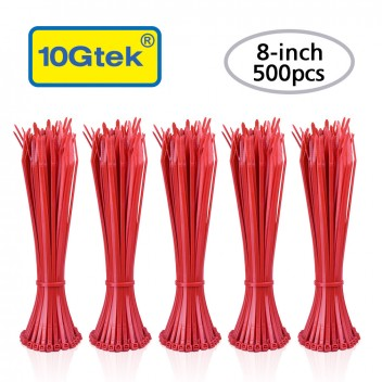 Zip Ties ( 500pcs) Self-Locking 8 Inch Nylon Cable Ties in Red UL Certificated