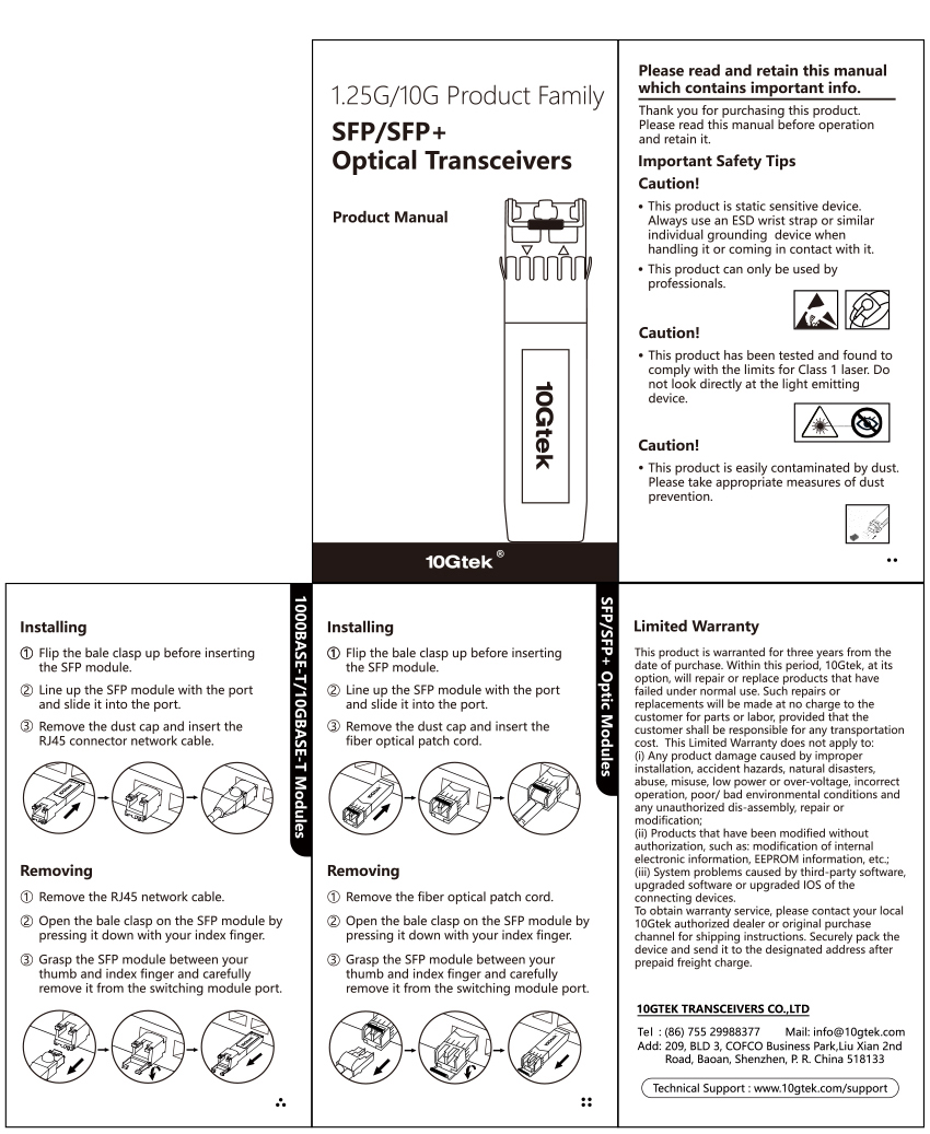 1.25G BIDI transceiver product Manual