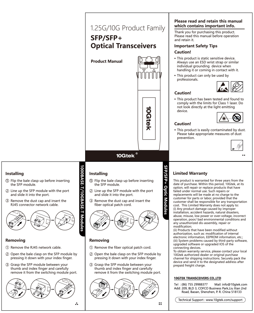 10G SFP-T transceiver product Manual