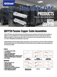 QSFP28 Passive Copper Cable Assemblies