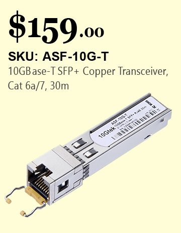 10GBase-T SFP +Copper Transceiver,Cat 6a / 7,30M